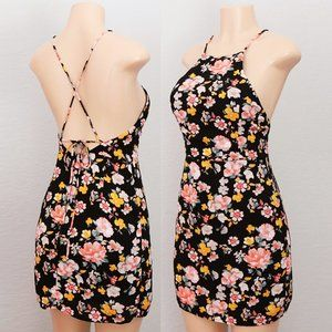 NEW Black Floral High Halter Neck Backless Dress